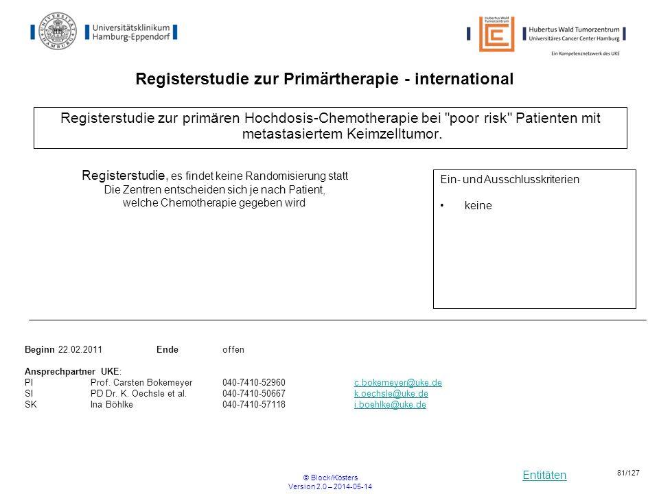 Entitäten © Block/Kösters Version 2.0 – 2014-05-14 81/127 Registerstudie zur primären Hochdosis-Chemotherapie bei