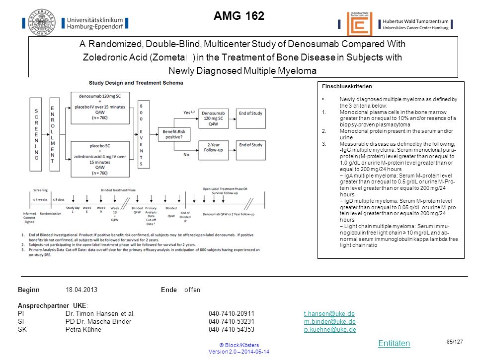 Entitäten © Block/Kösters Version 2.0 – 2014-05-14 85/127 AMG 162 A Randomized, Double-Blind, Multicenter Study of Denosumab Compared With Zoledronic