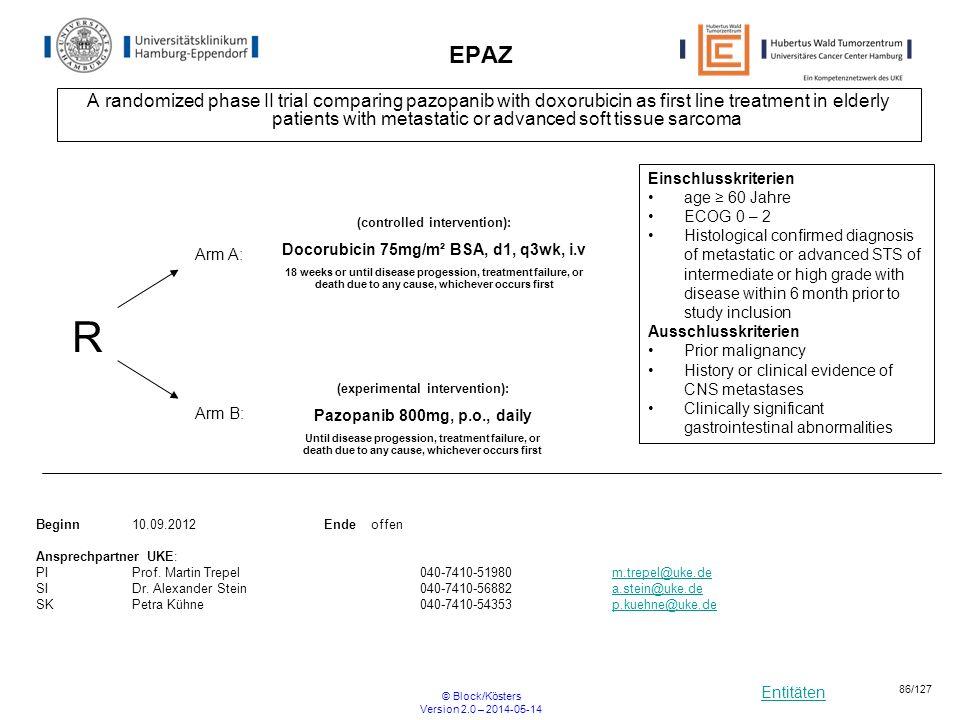 Entitäten © Block/Kösters Version 2.0 – 2014-05-14 86/127 EPAZ A randomized phase II trial comparing pazopanib with doxorubicin as first line treatmen