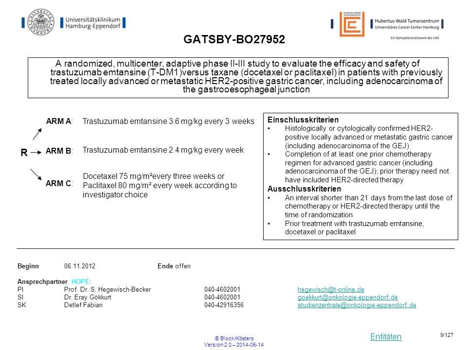 Entitäten © Block/Kösters Version 2.0 – 2014-05-14 20/127 Studienbaum Pankreaskarzinom - resektabel adjuvant/additiv resektabel neoadjuvant NEOPA ESPAC 4 UKE* R0/1 CONKO 06 HOS* R1 * UKE= Universitätsklinikum Hamburg Eppendorf-II.