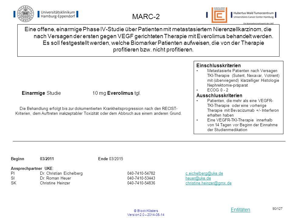 Entitäten © Block/Kösters Version 2.0 – 2014-05-14 90/127 MARC-2 Eine offene, einarmige Phase IV-Studie über Patienten mit metastasiertem Nierenzellka
