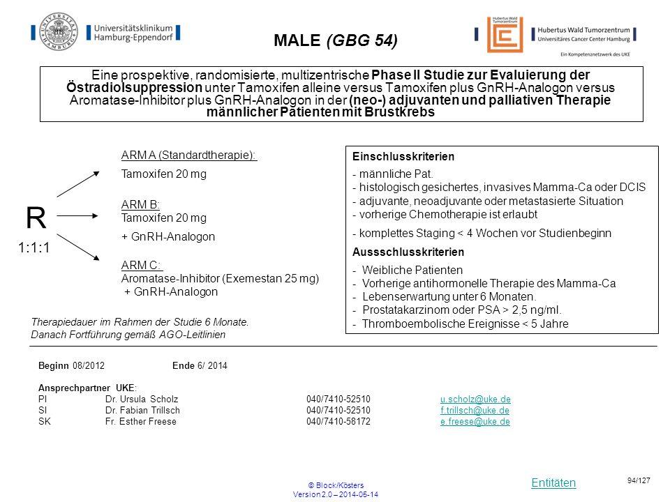 Entitäten © Block/Kösters Version 2.0 – 2014-05-14 94/127 MALE (GBG 54) Eine prospektive, randomisierte, multizentrische Phase II Studie zur Evaluieru