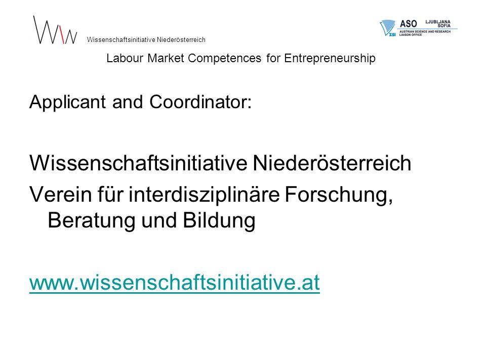 Flyer, englische und albanische Versionen Wissenschaftsinitiative Niederösterreich Labour Market Competences for Entrepreneurship