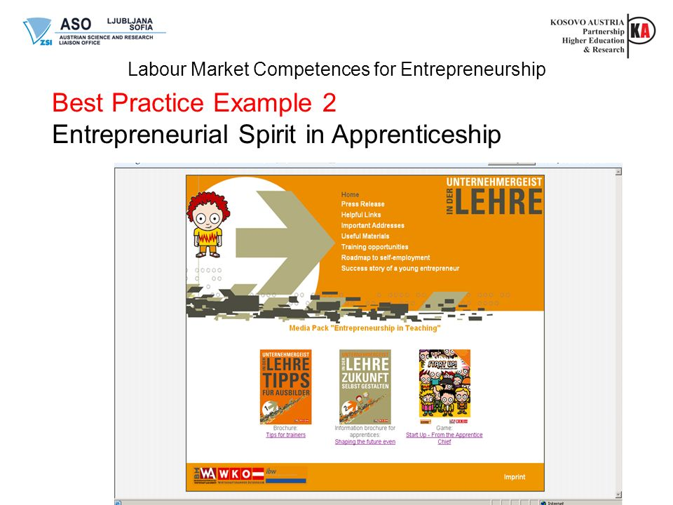 Labour Market Competences for Entrepreneurship Best Practice Example 2 Entrepreneurial Spirit in Apprenticeship