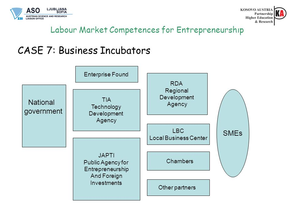 Labour Market Competences for Entrepreneurship CASE 7: Business Incubators Enterprise Found TIA Technology Development Agency JAPTI Public Agency for Entrepreneurship And Foreign Investments RDA Regional Development Agency Other partners SMEs National government LBC Local Business Center Chambers