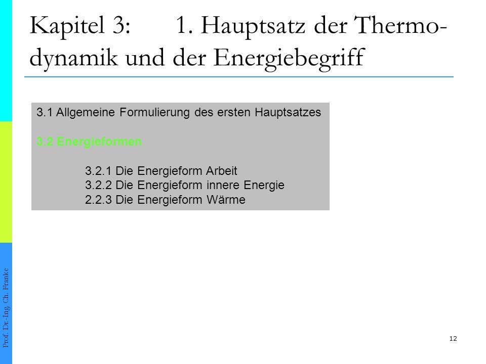 12 Kapitel 3:1.Hauptsatz der Thermo- dynamik und der Energiebegriff Prof.