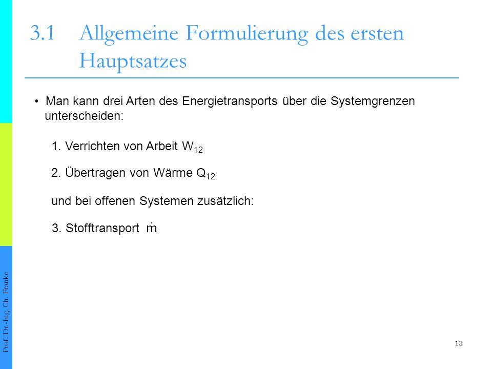 13 3.1Allgemeine Formulierung des ersten Hauptsatzes Prof.