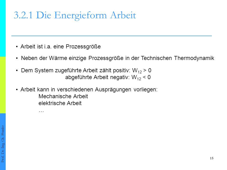 15 3.2.1 Die Energieform Arbeit Prof.Dr.-Ing. Ch.