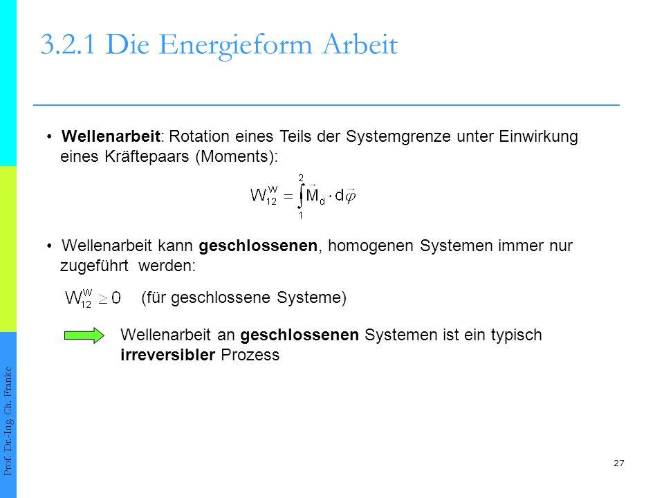 27 3.2.1 Die Energieform Arbeit Prof.Dr.-Ing. Ch.