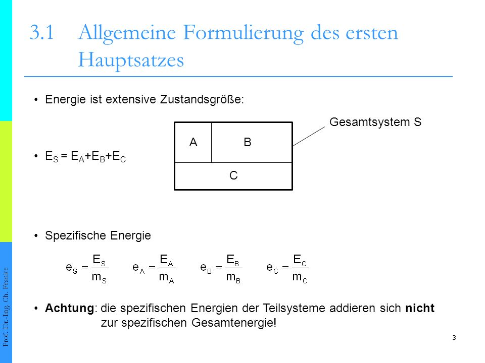 3 3.1Allgemeine Formulierung des ersten Hauptsatzes Prof.
