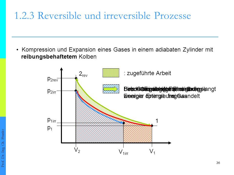 : vom Gas abgegebene Energie Beim reversiblen Fall wird die Energie optimal umgewandelt Schon bei der Kompression gelangt weniger Energie ins Gas Bei der Expansion wird noch weniger Energie frei : ins Gas gelangte Energie 36 1.2.3Reversible und irreversible Prozesse Prof.