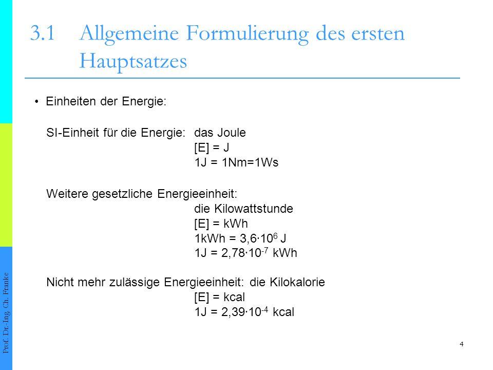 4 3.1Allgemeine Formulierung des ersten Hauptsatzes Prof.