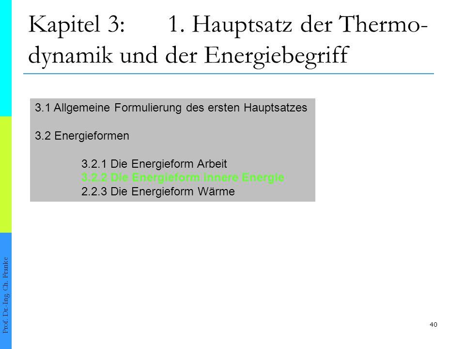 40 Kapitel 3:1.Hauptsatz der Thermo- dynamik und der Energiebegriff Prof.