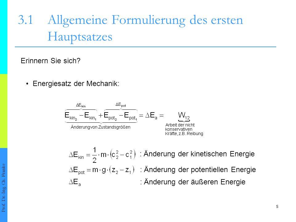 5 3.1Allgemeine Formulierung des ersten Hauptsatzes Prof.
