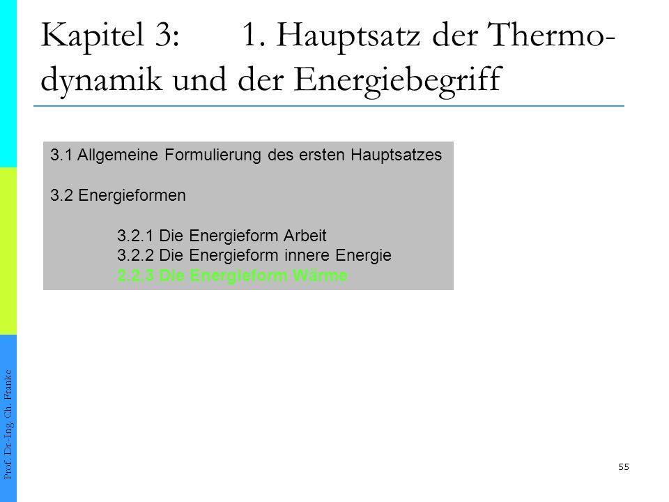 55 Kapitel 3:1.Hauptsatz der Thermo- dynamik und der Energiebegriff Prof.