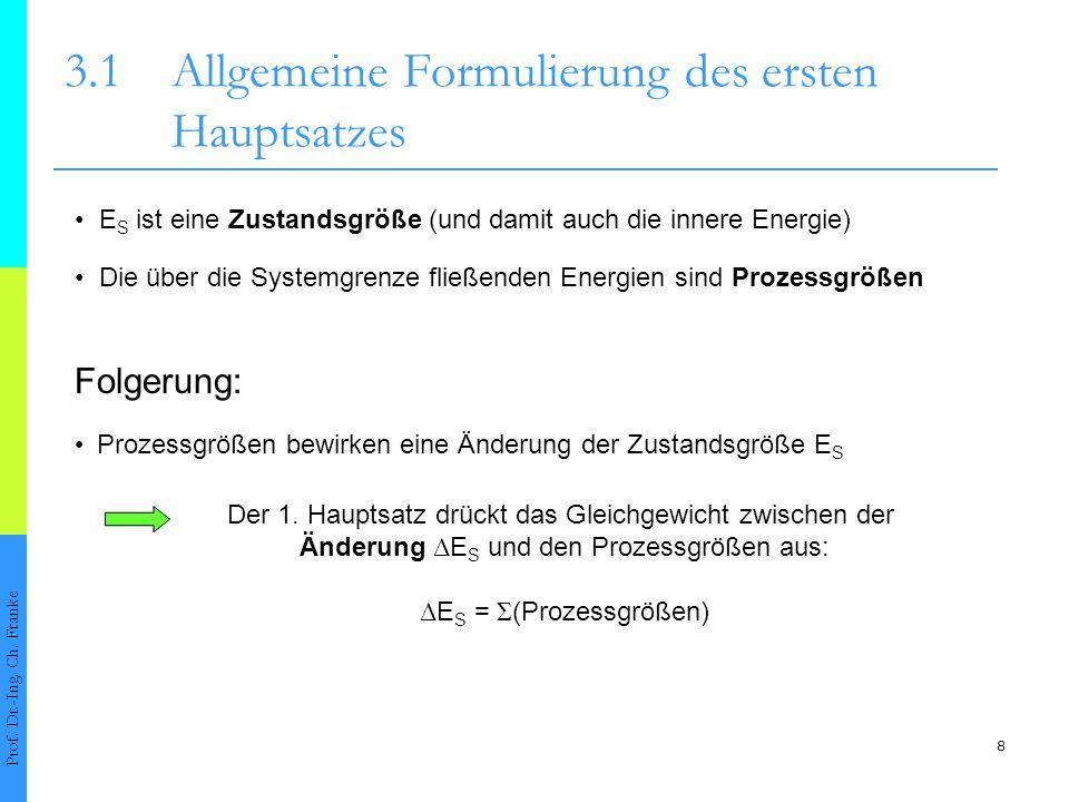 8 3.1Allgemeine Formulierung des ersten Hauptsatzes Prof.
