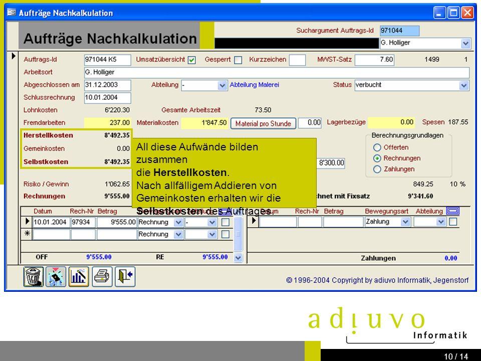 adiuvo Informatik Know how for your IT-Solution Bernstrasse 41 3303 Jegenstorf www.adiuvo.ch 9 / 14 Materialkosten und Lagerbezüge werden ebenfalls als Aufwände mitgerechnet.