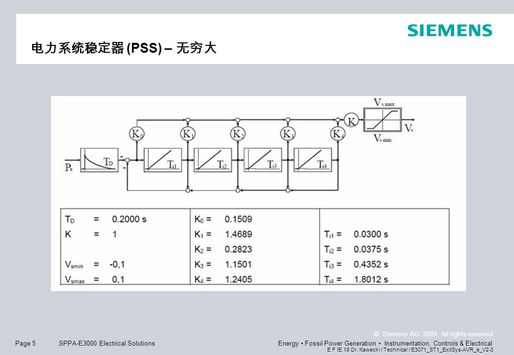 Page 5 © Siemens AG 2009. All rights reserved. E F IE 18 Dr. Kawecki / Technical / E3071_ST1_ExitSys-AVR_e_V2-3 Energy Fossil Power Generation Instrum