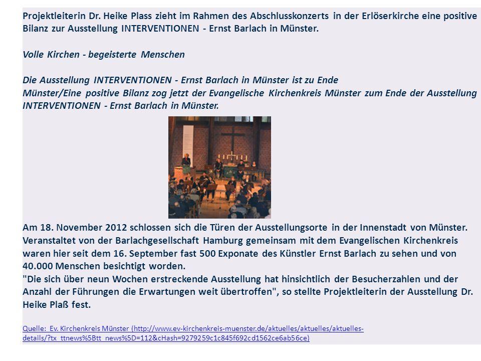Projektleiterin Dr. Heike Plass zieht im Rahmen des Abschlusskonzerts in der Erlöserkirche eine positive Bilanz zur Ausstellung INTERVENTIONEN - Ernst