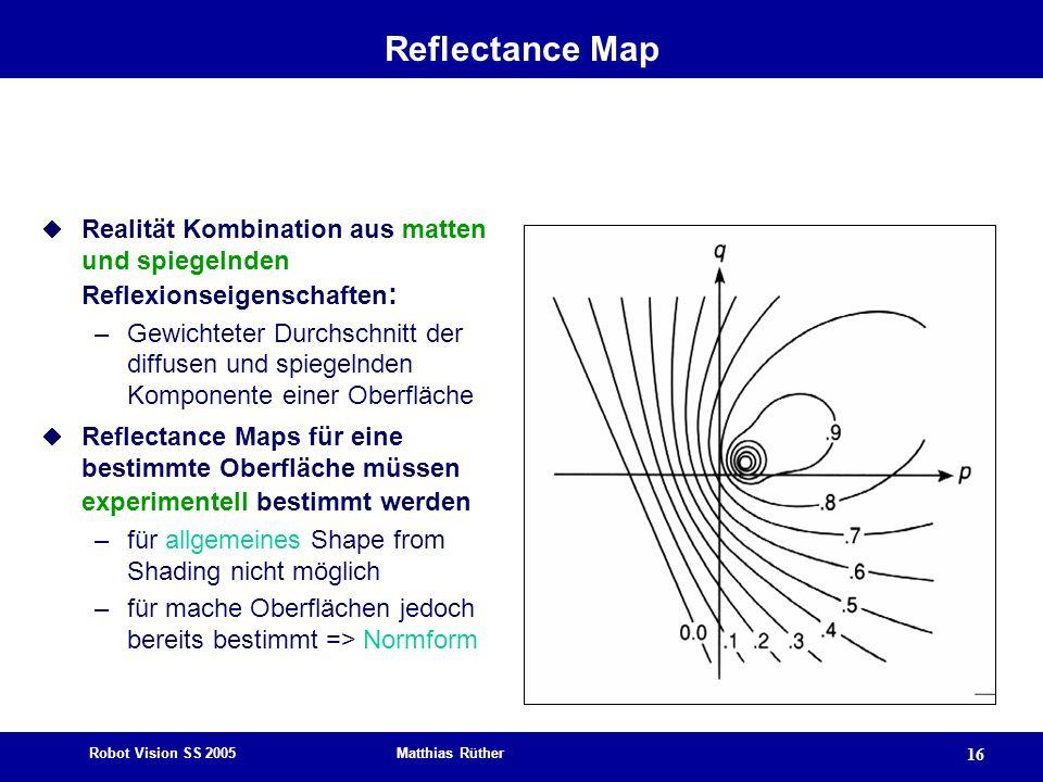 Robot Vision SS 2005 Matthias Rüther 16 Reflectance Map Realität Kombination aus matten und spiegelnden Reflexionseigenschaften : –Gewichteter Durchsc