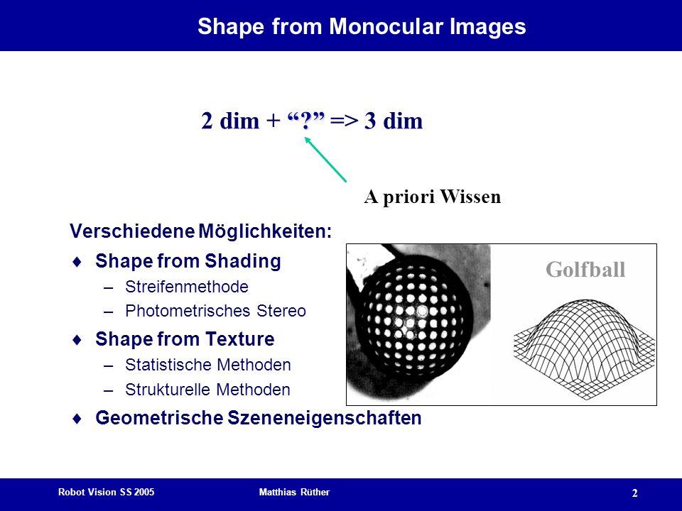 Robot Vision SS 2005 Matthias Rüther 2 Shape from Monocular Images Verschiedene Möglichkeiten: Shape from Shading –Streifenmethode –Photometrisches St