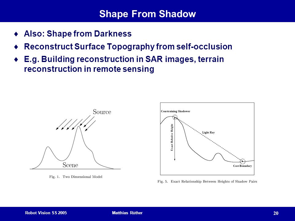 Robot Vision SS 2005 Matthias Rüther 20 Shape From Shadow Also: Shape from Darkness Reconstruct Surface Topography from self-occlusion E.g.