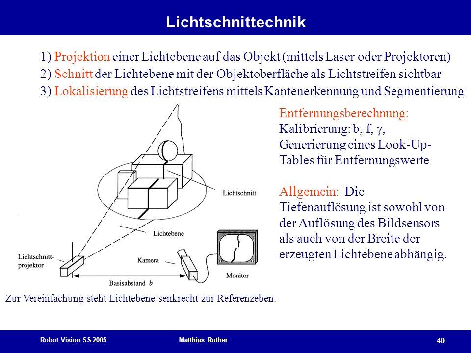 Robot Vision SS 2005 Matthias Rüther 40 Lichtschnittechnik 1) Projektion einer Lichtebene auf das Objekt (mittels Laser oder Projektoren) 2) Schnitt d