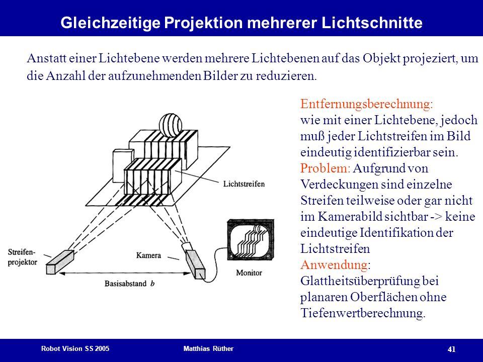 Robot Vision SS 2005 Matthias Rüther 41 Gleichzeitige Projektion mehrerer Lichtschnitte Anstatt einer Lichtebene werden mehrere Lichtebenen auf das Ob