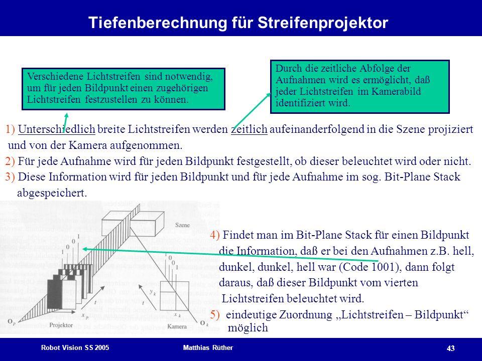 Robot Vision SS 2005 Matthias Rüther 43 Tiefenberechnung für Streifenprojektor 1) Unterschiedlich breite Lichtstreifen werden zeitlich aufeinanderfolg