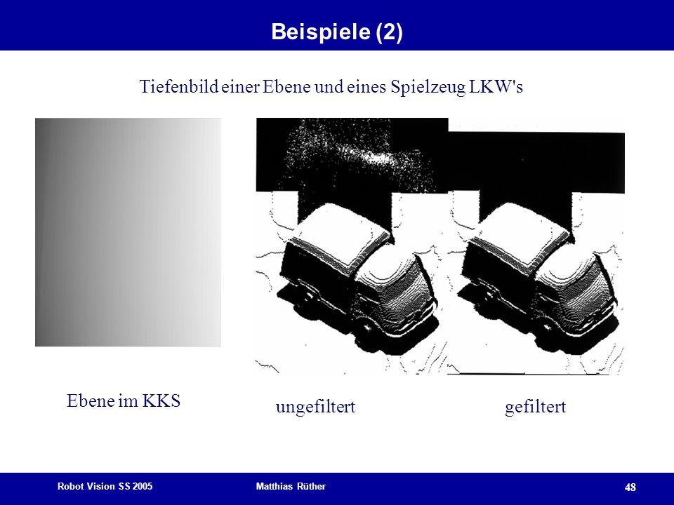 Robot Vision SS 2005 Matthias Rüther 48 Beispiele (2) ungefiltertgefiltert Tiefenbild einer Ebene und eines Spielzeug LKW's Ebene im KKS