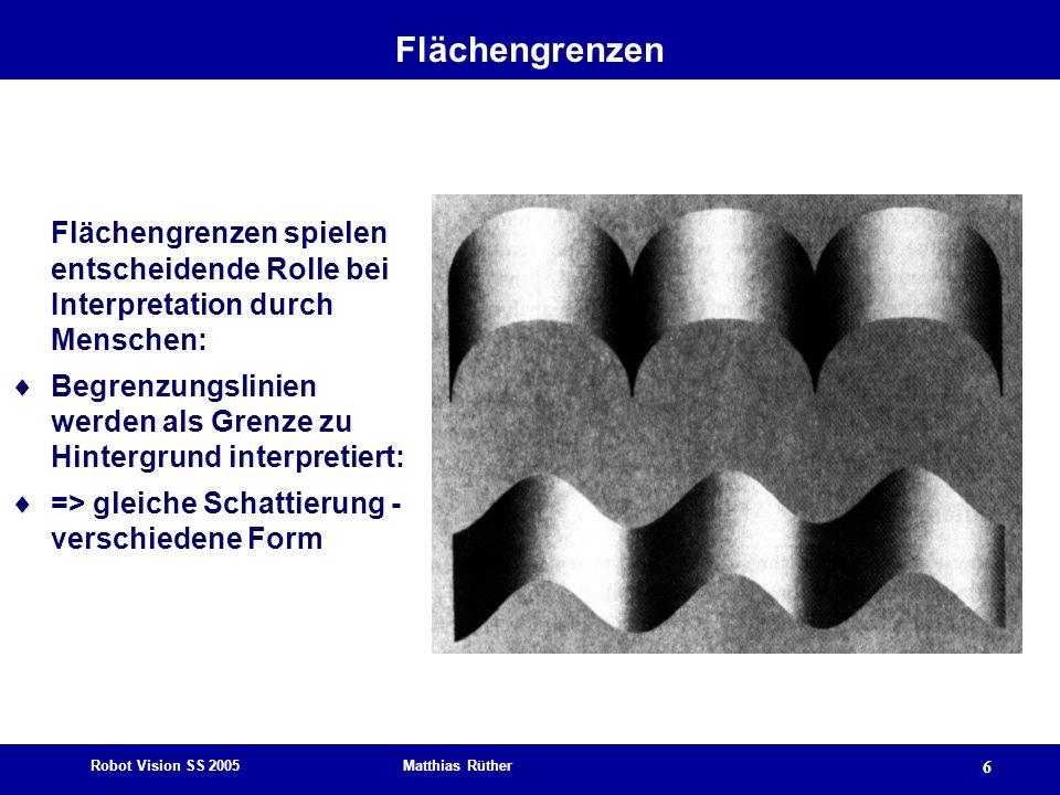 Robot Vision SS 2005 Matthias Rüther 6 Flächengrenzen Flächengrenzen spielen entscheidende Rolle bei Interpretation durch Menschen: Begrenzungslinien