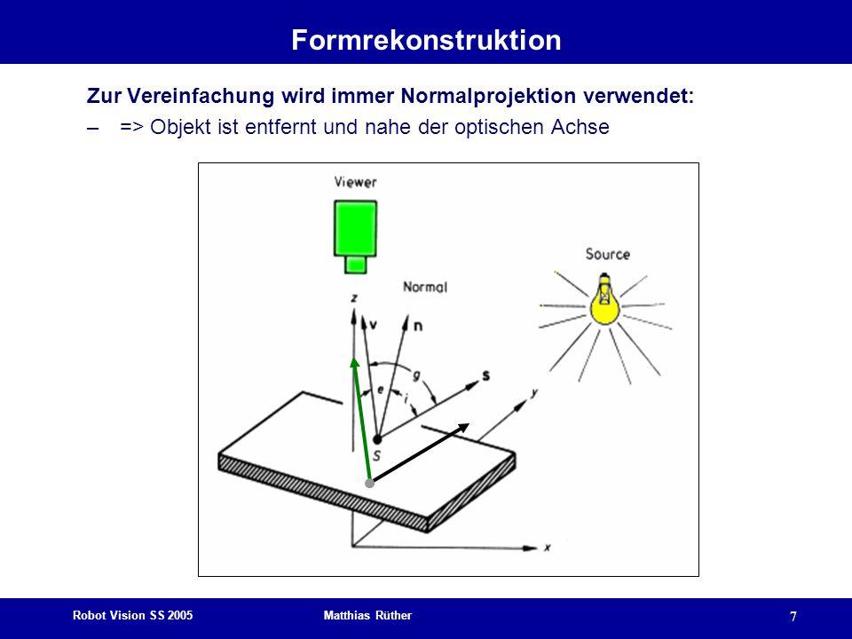 Robot Vision SS 2005 Matthias Rüther 7 Formrekonstruktion Zur Vereinfachung wird immer Normalprojektion verwendet: – => Objekt ist entfernt und nahe d