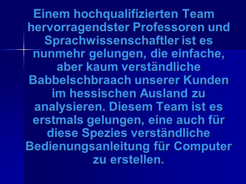 Computer-Anleitung auf hessisch: Kombjuder-Eischald-Zeddel Fer Auswerddische bei de EITITI