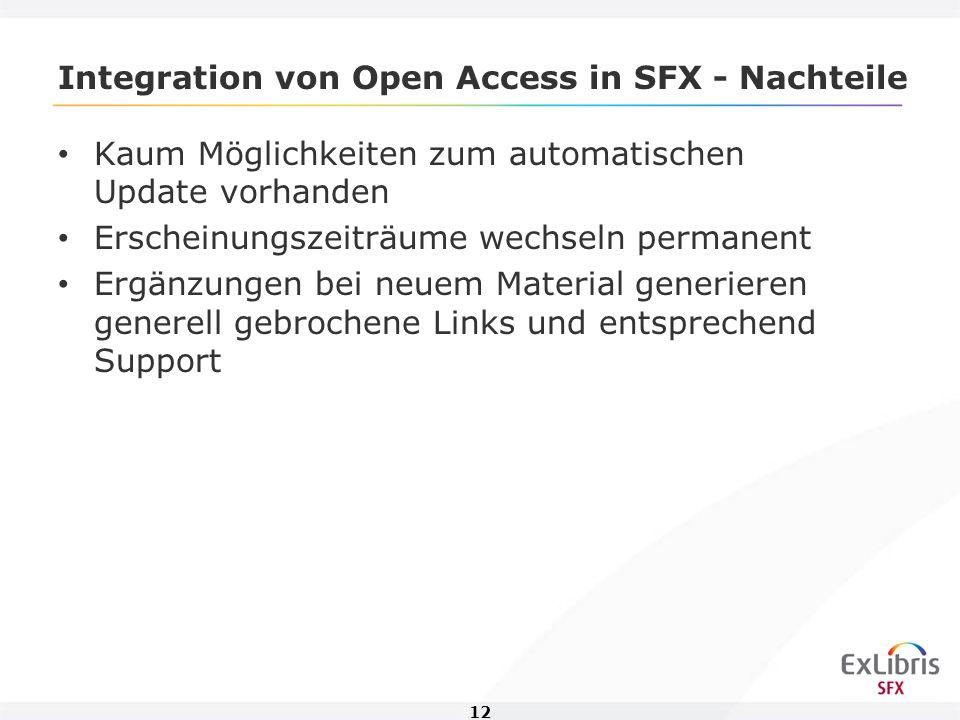 12 Integration von Open Access in SFX - Nachteile Kaum Möglichkeiten zum automatischen Update vorhanden Erscheinungszeiträume wechseln permanent Ergänzungen bei neuem Material generieren generell gebrochene Links und entsprechend Support