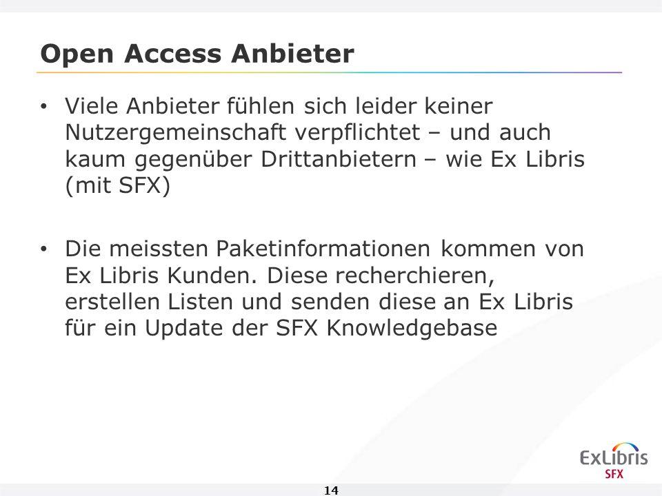 14 Open Access Anbieter Viele Anbieter fühlen sich leider keiner Nutzergemeinschaft verpflichtet – und auch kaum gegenüber Drittanbietern – wie Ex Libris (mit SFX) Die meissten Paketinformationen kommen von Ex Libris Kunden.
