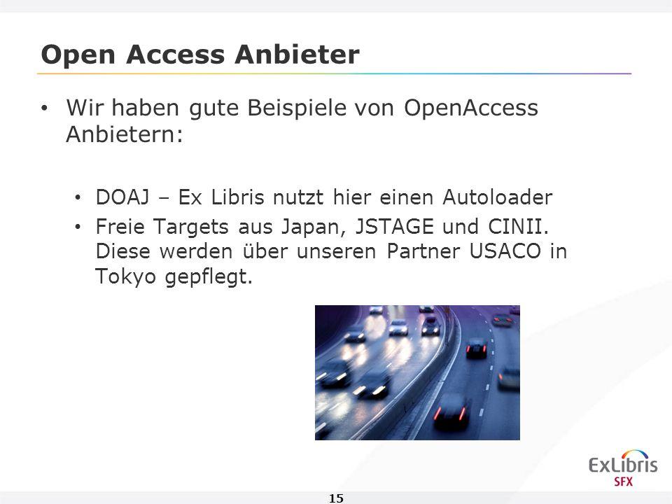 15 Open Access Anbieter Wir haben gute Beispiele von OpenAccess Anbietern: DOAJ – Ex Libris nutzt hier einen Autoloader Freie Targets aus Japan, JSTAGE und CINII.