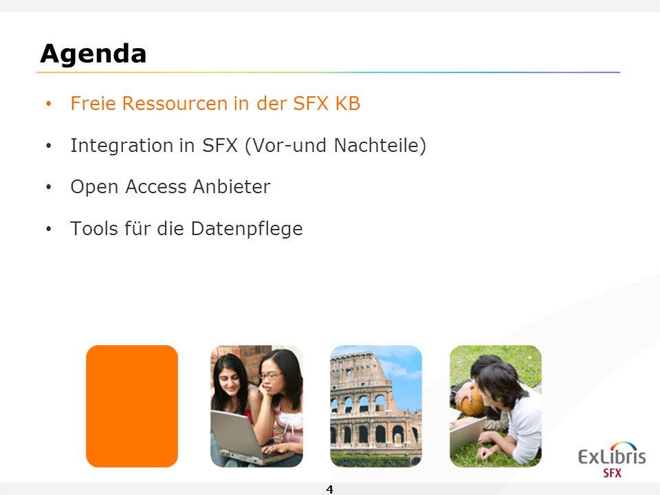 4 Agenda Freie Ressourcen in der SFX KB Integration in SFX (Vor-und Nachteile) Open Access Anbieter Tools für die Datenpflege