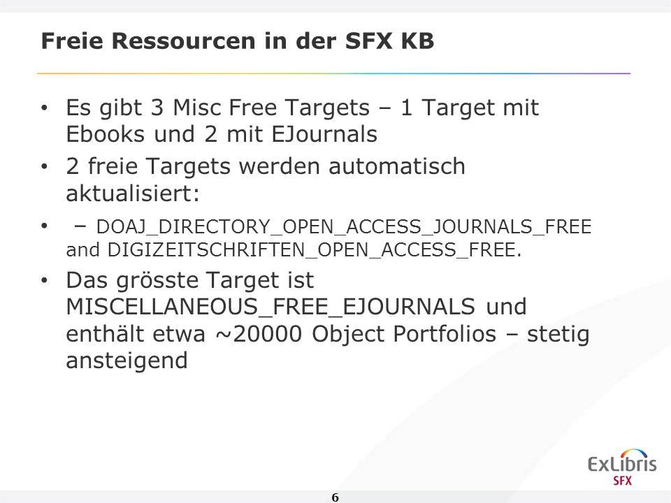 7 Freie Ressourcen in der SFX KB Der prozentuale Anteil gebrochener Links bei freien Angeboten liegt bei 3% - Tendenz sinkend Der Support der Misc Targets in der SFX KB beträgt etwa 10% des gesamten Supports.