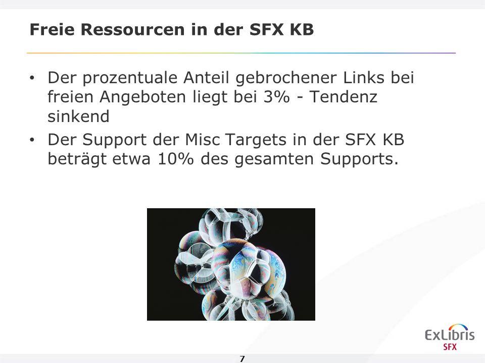 8 Agenda Freie Ressourcen in der SFX KB Integration in SFX (Vor- und Nachteile) Open Access Anbieter Tools für die Datenpflege