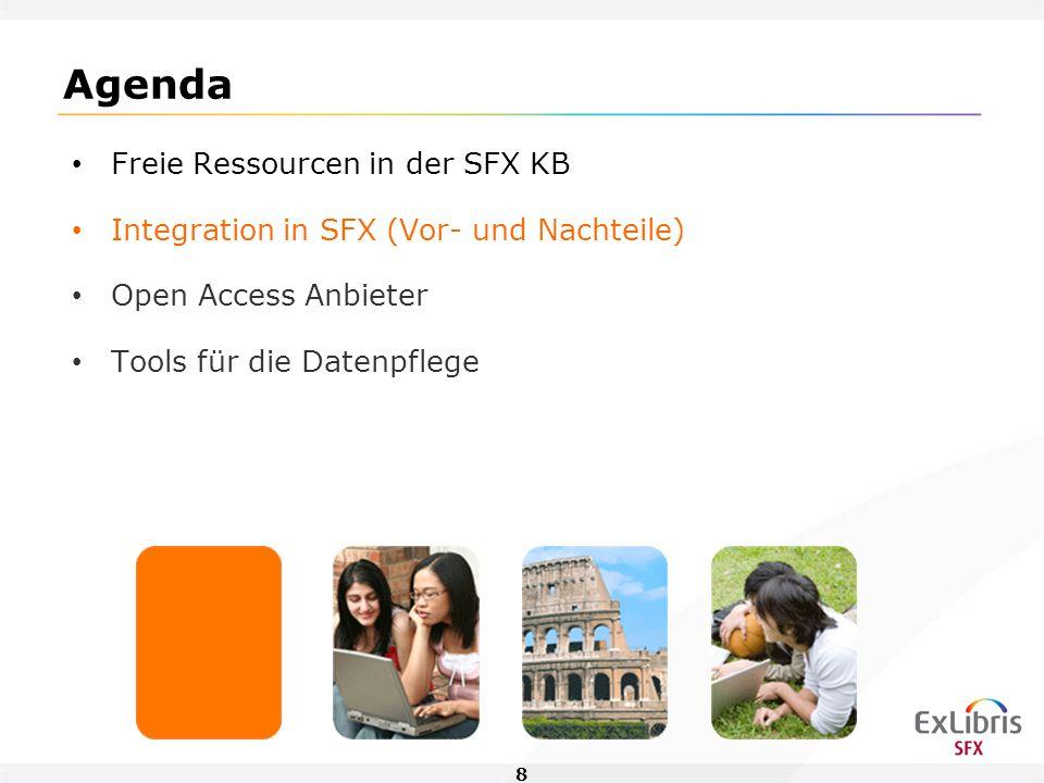 9 Integration von Open Access in SFX - Vorteile Die Integration freier Targets gibt einen sehr guten Überblick über neues Material, welcher dem wissenschaftlichen Bereich zur Verfügung steht.