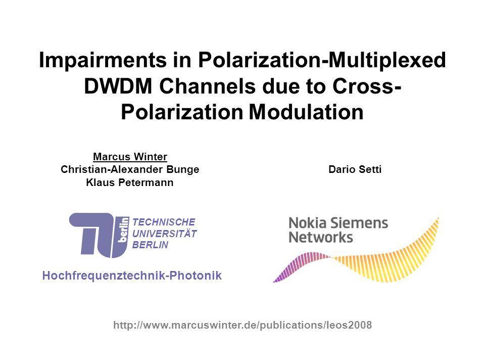 TECHNISCHE UNIVERSITÄT BERLIN Fachgebiet Hochfrequenztechnik fading within a single CW channel (x-polarization) DOP = 0.894 fading