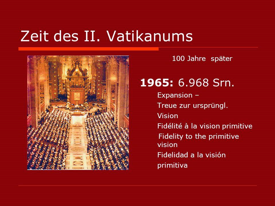 Zeit des II. Vatikanums 100 Jahre später 1965: 6.968 Srn.