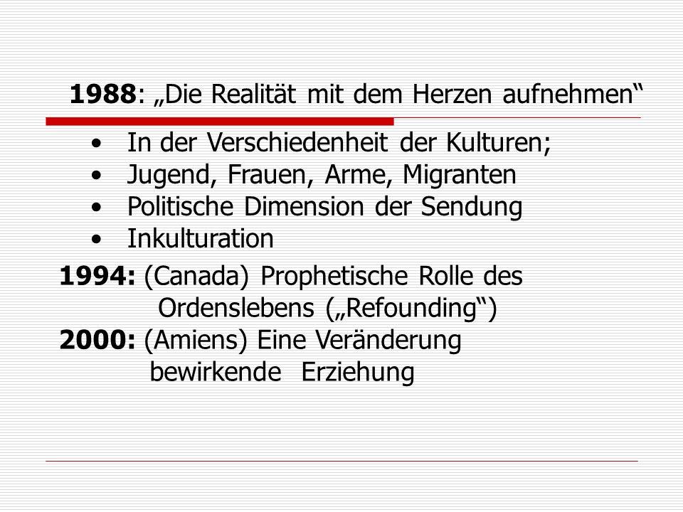 1988: Die Realität mit dem Herzen aufnehmen In der Verschiedenheit der Kulturen; Jugend, Frauen, Arme, Migranten Politische Dimension der Sendung Inkulturation 1994: (Canada) Prophetische Rolle des Ordenslebens (Refounding) 2000: (Amiens) Eine Veränderung bewirkende Erziehung