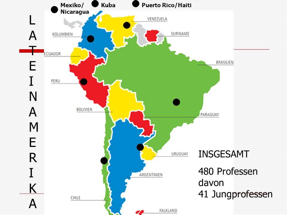 LATEINAMERIKALATEINAMERIKA INSGESAMT 480 Professen davon 41 Jungprofessen KubaMexiko/ Nicaragua Puerto Rico/Haiti