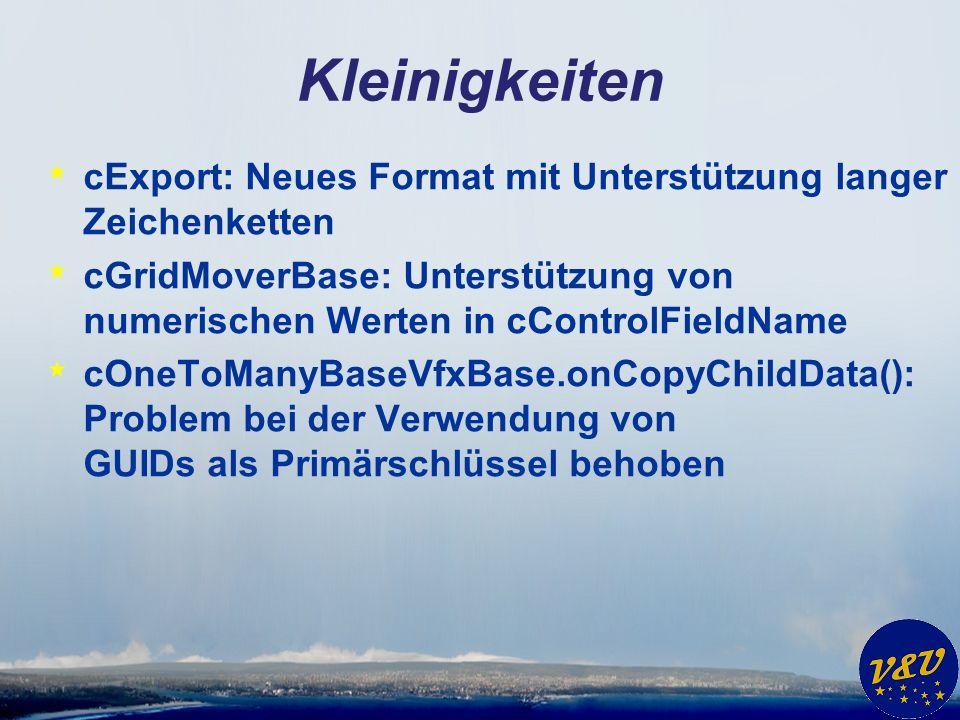 Kleinigkeiten * cExport: Neues Format mit Unterstützung langer Zeichenketten * cGridMoverBase: Unterstützung von numerischen Werten in cControlFieldNa