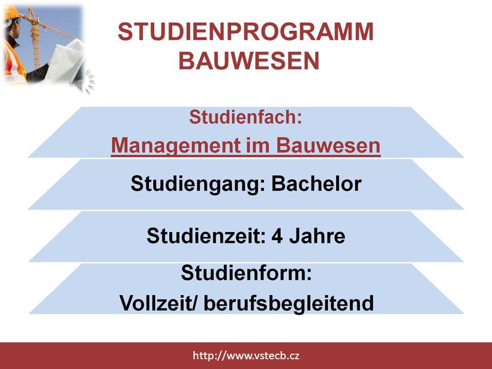 STUDIENPROGRAMM BAUWESEN http://www.vstecb.cz