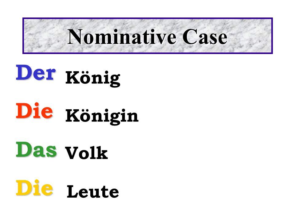 Nominative Case DerDieDasDie König Königin Volk Leute