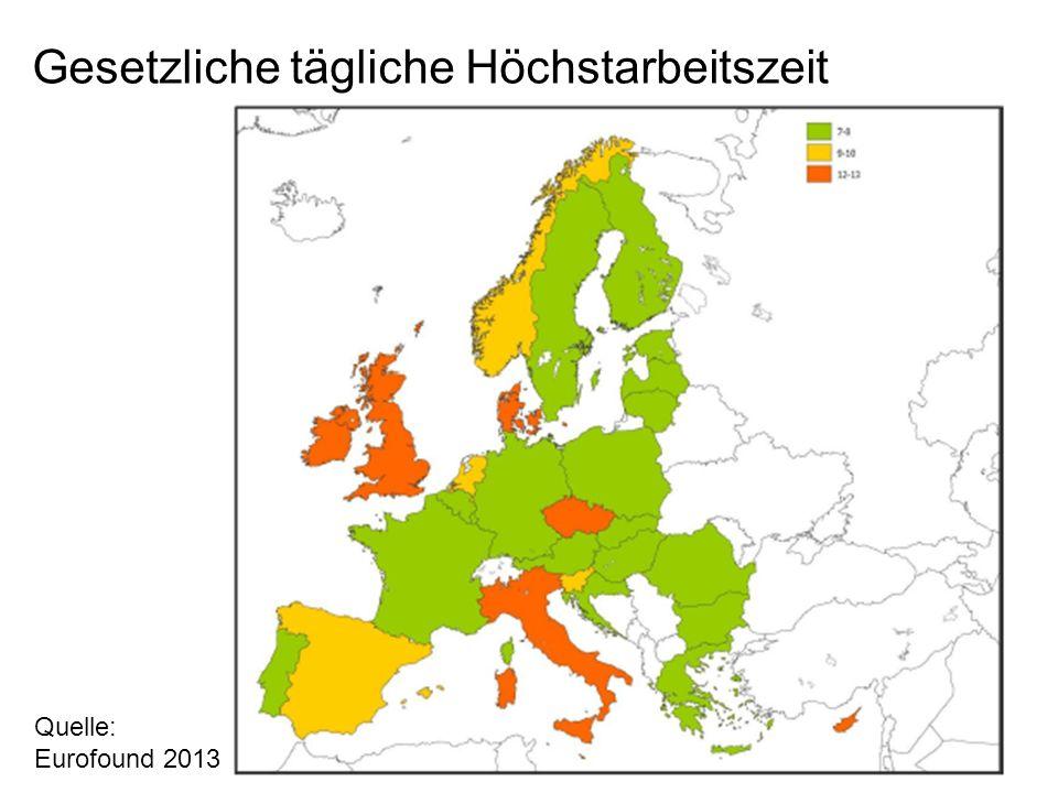 Gesetzliche tägliche Höchstarbeitszeit Quelle: Eurofound 2013