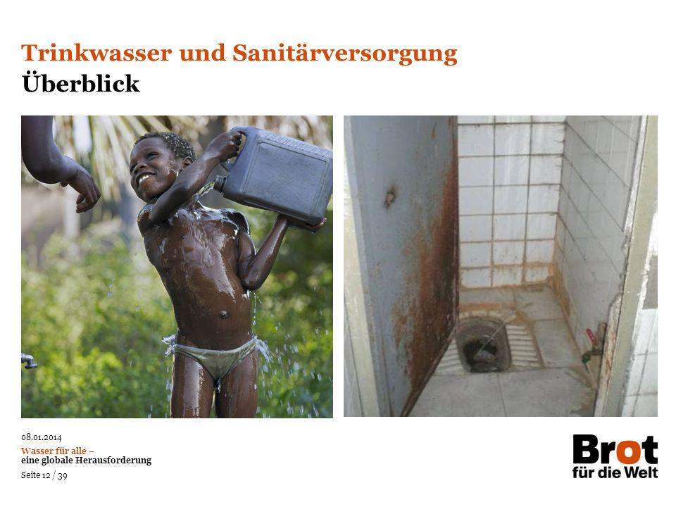 08.01.2014 Wasser für alle – eine globale Herausforderung Seite 12 / 39 Trinkwasser und Sanitärversorgung Überblick