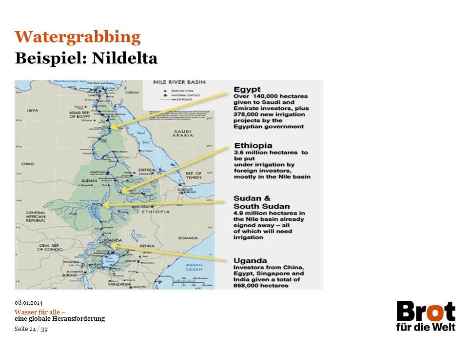 08.01.2014 Wasser für alle – eine globale Herausforderung Seite 24 / 39 Watergrabbing Beispiel: Nildelta